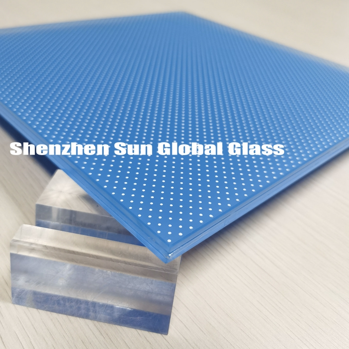 12.28mm opaque anti slip blue laminated floor glass