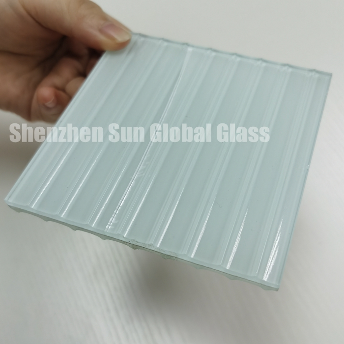 white laminated reeded glass