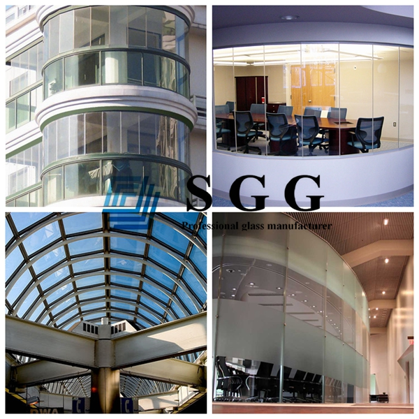 insulated glass panel, 8mm+8mm insulating glass, 8mm+8mm IG glass, insulated curved glass
