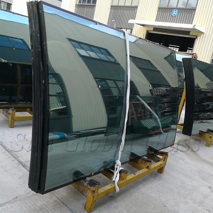 Jumbo size 24mm HST curved double glazed glass, 6mm+12mm spacer+6mm Heat soaked curved insulated glass, 6mm+6mm bent HS IGU manufacturer