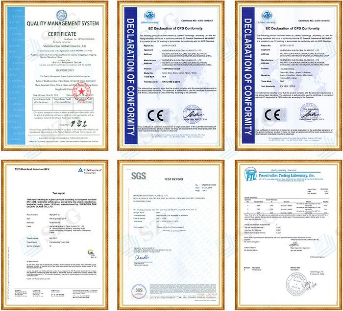 SZG glass certificates CE and SGCC
