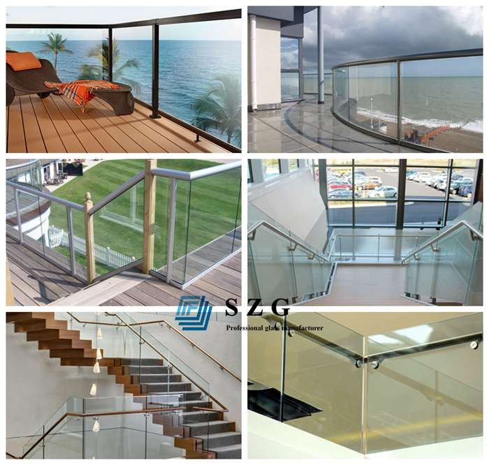 10.76mm laminated glass railing, 552 laminated glass balustrade, 5+5 toughened glass railing, sandwich glass
