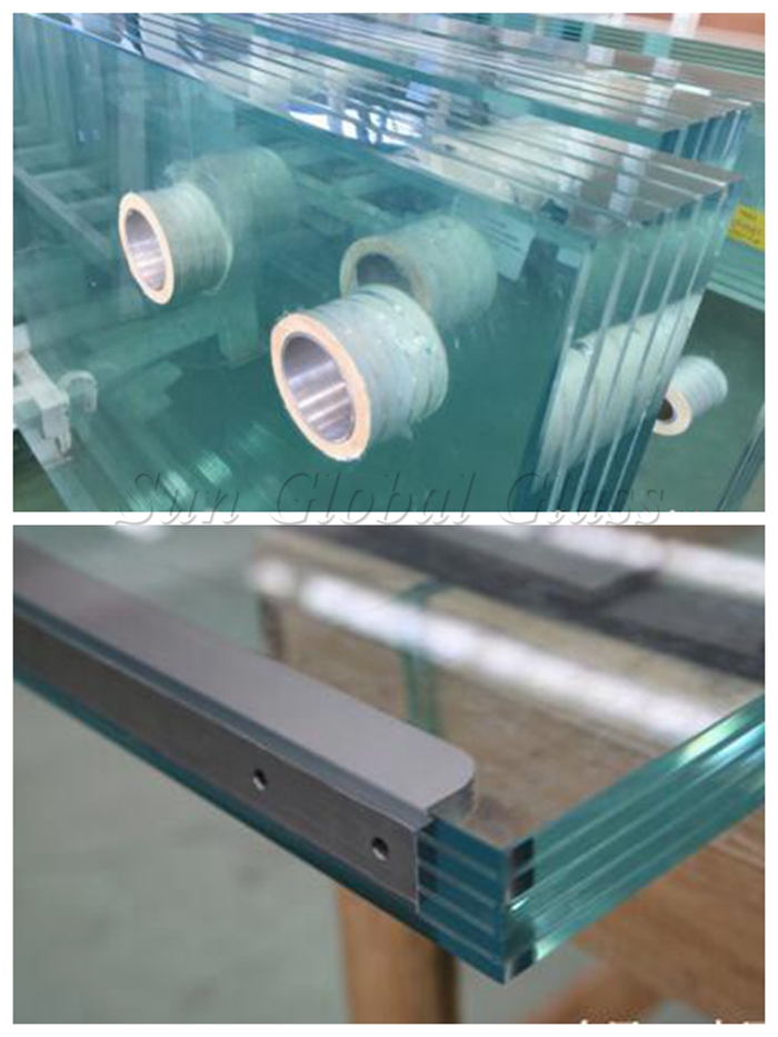 Low iron tempered laminated glass, polylaminate laminated glass, 50.56mm tempered safety glass flooring, anti slip glass, anti slip laminated glass, 50.56mm anti slip glass floor, tempered sandwich glass, PVB laminated glass, transparent toughened laminated glass