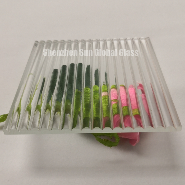 Fluted textured privacy ribbed narrow Reeded glass
