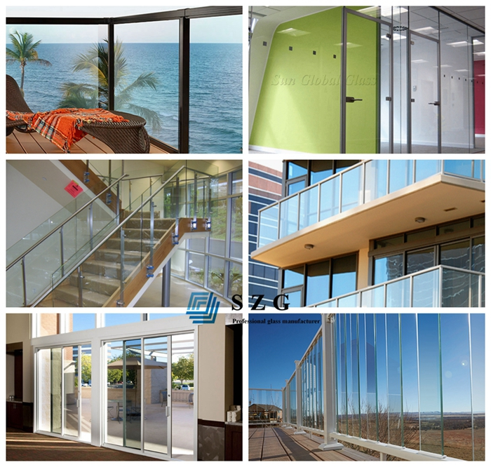 11.14mm clear laminated glass railing, 55.3 laminated glass, 5+5 tempered glass balustrade, sandwich glass railing