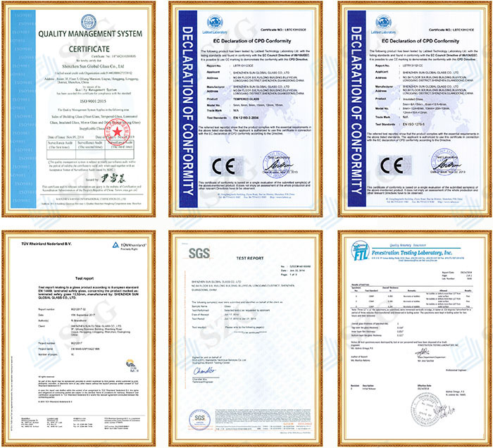 tempered glass CE Certificate SGCC certificatequality standards