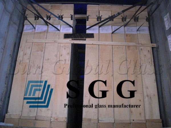 12.76mm clear laminated safety glass sheets, 6mm+6mm laminated glass factory in China