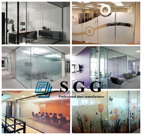 10mm toughened glass partition, 10mm office partition glass wall, clear tempered glass wall