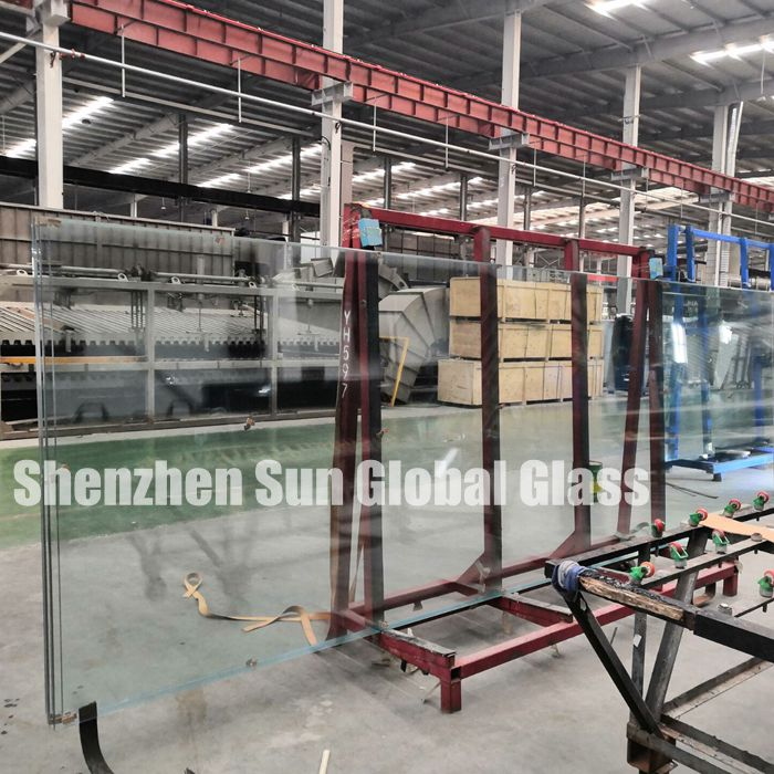 Jumbo size 19mm clear tempered heat soaked glass, 19mm toughened HS glass, 19mm transparent VSG heat soak test glass super large size