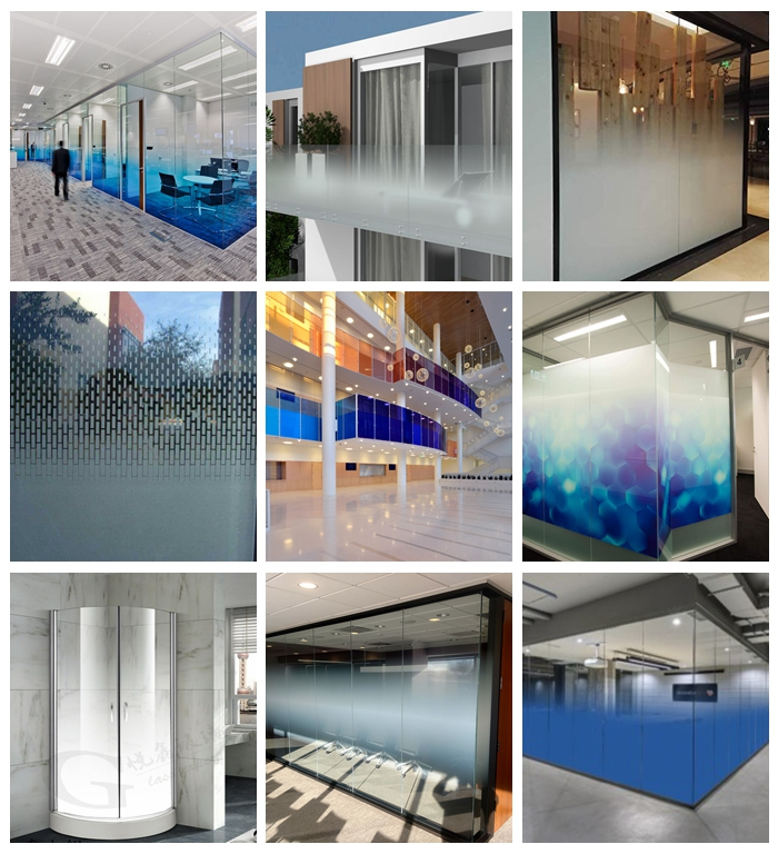 gradient glass, 13.52mm gradient laminated glass, colored gradient glass, gradient ESG VSG, gradient glass partition, 12mm gradient glass