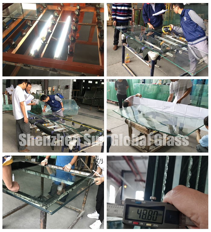 11.52mm light green  tempered laminated glass, 55.4 F green ESG VSG, 5mm+1.52 interlayer+5mm French green toughened laminated glass