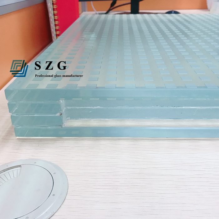 12+12+12+12 laminated antiskid glass, 48mm flooring glass, 4 layers antislip glass, tempered laminated non- slip glass, stair glass, ultra clear antiskid glass