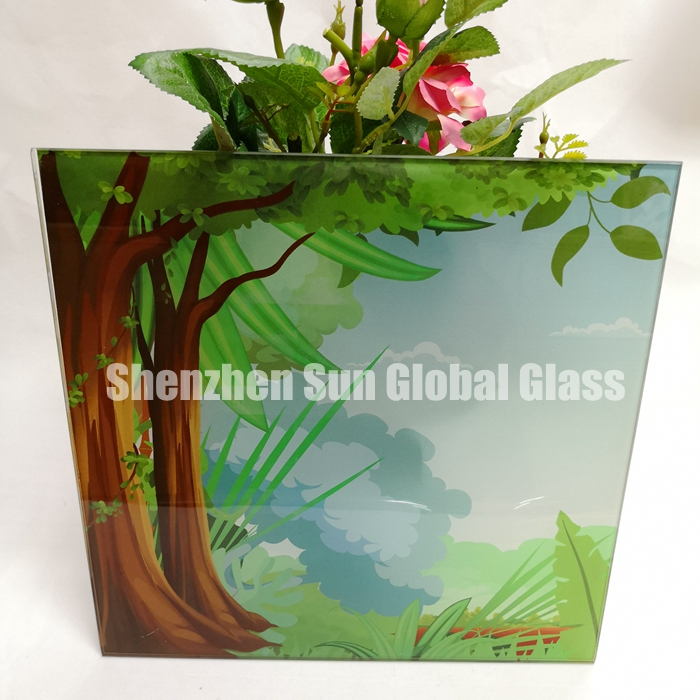 fridge door glass, print glass, pringted toughened glass, ceramic glass, China glass factory, ceramic toughened glass, door of vertical refrigerator, silkscreen printed glass, ultra clear printing glass