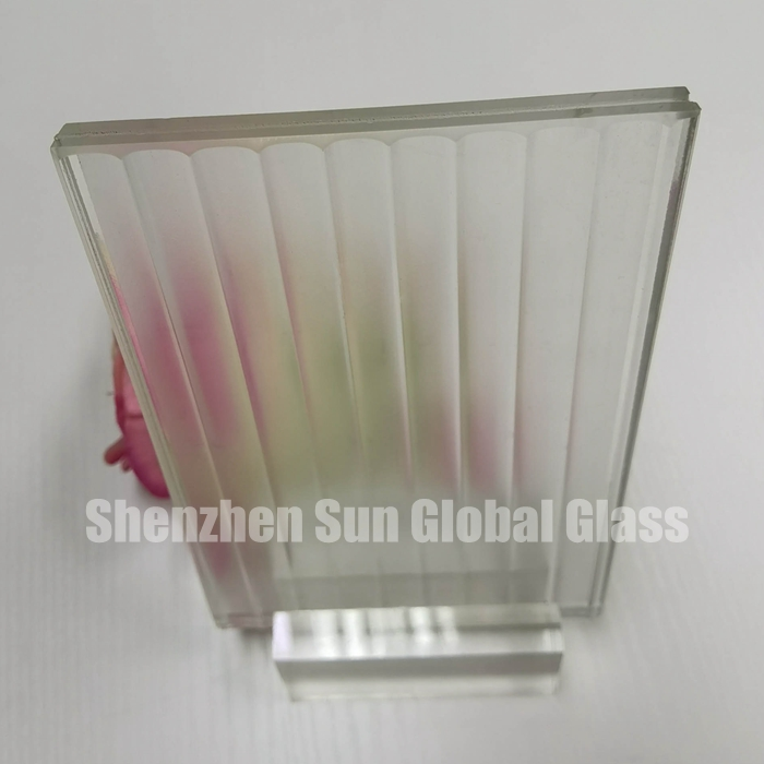 5mm+5mm thick ribbed frosted lamination Glass