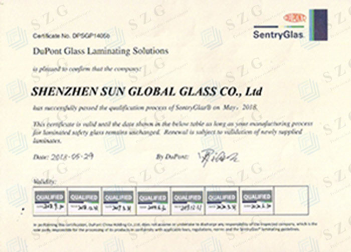 DUPONT SGP LAMINATED GLASS CERTIFICATE