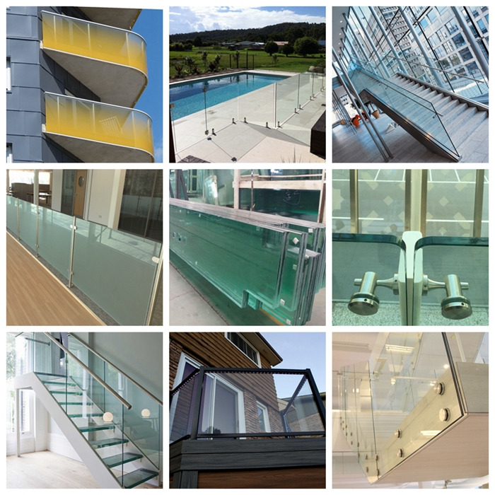 different types of railing glass