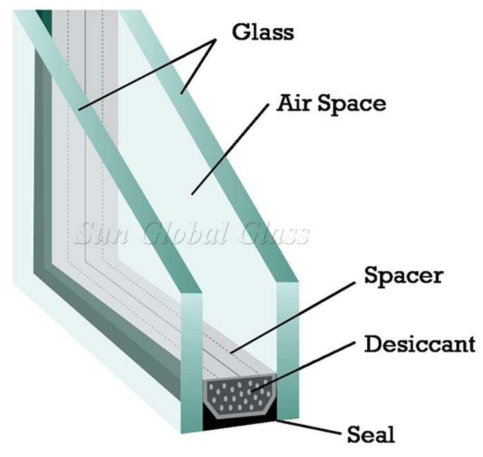 5m+5mm tempered insulated glass, 5mm+5mm safety sound proof glass, clear toughened double glazing