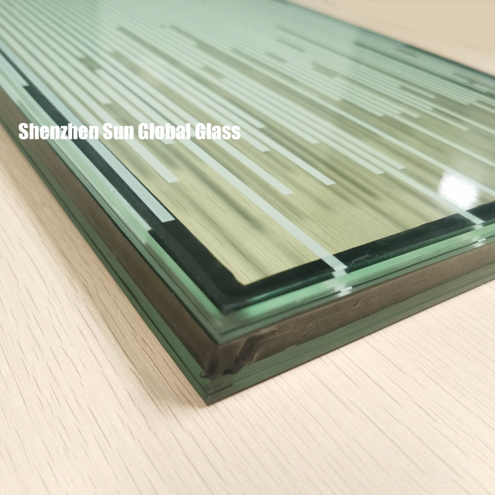 25.52mm white stripe toughened laminated insulated glass