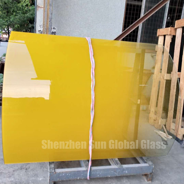 10mm curved yellow gradient glass