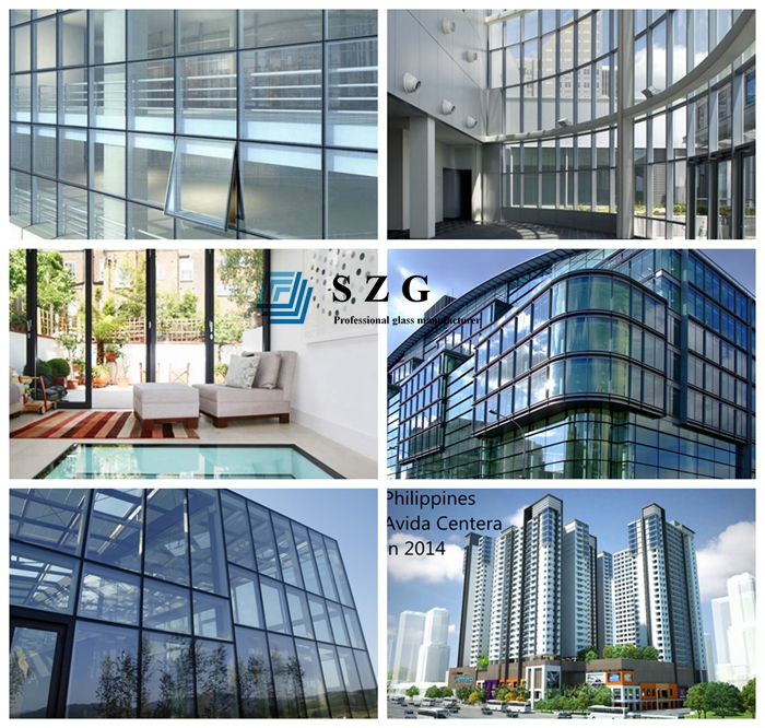 28mm green reflective DGU, 8mm green reflective Tempered glass+12mm gas+8mm clear tempered glass, insulated glass, double glazing, 28mm double glass unit