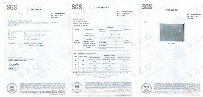 BS6206 GLASS CERTIFICATE