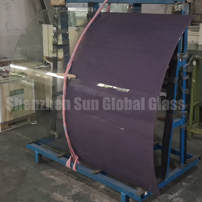 13.52mm low iron colored gradient curved tempered laminated glass, 6+1.52+6 ultra clear gradient toughened laminated curved glass, 66.4 extra clear curved gradient ESG VSG glass