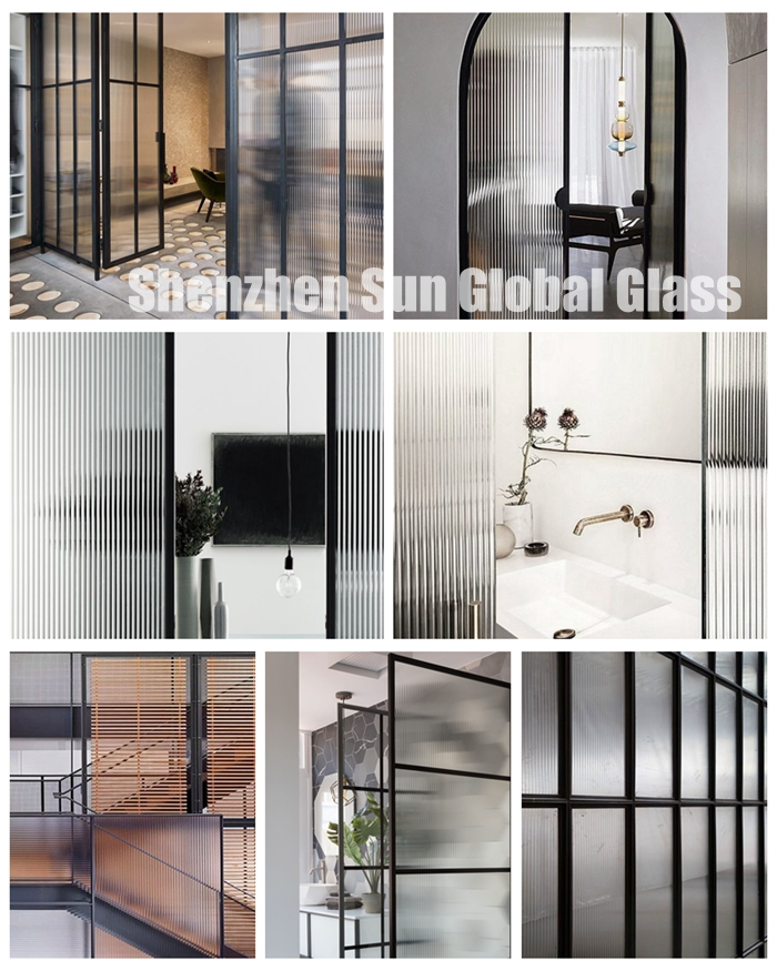 fluted glass for bathroom, narrow fluted glass, ribbed glass, 8mm reeded glass, toughened reeded glass, tempered fluted glass, fluted shower glass, transparent fluted glass,8mm fluted glass price, fluted ESG