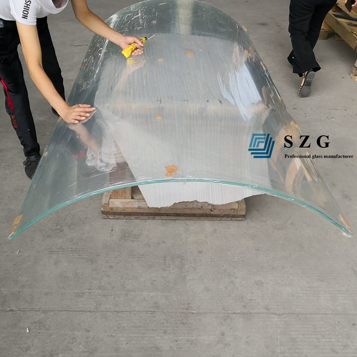66.4 low iron curved tempered laminated glass, 13.52mm curved glass, 6+6mm bent tempered glass, 66.4 low iron curved ESG VSG, 1/2 inch curved laminated glass