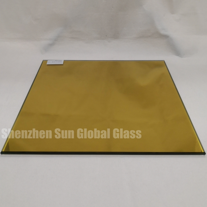 6mm gold reflective tempered glass