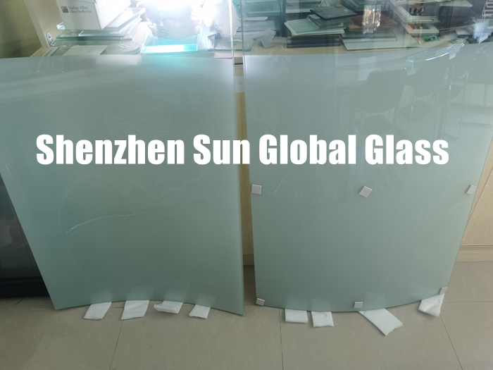 11.52mm wave design white printed curved laminated glass