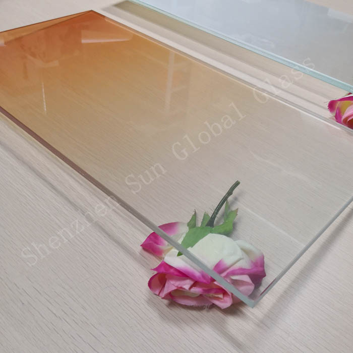 Printed gradient color tempered glass, gradient acid etched glass, tempered gradient glass, gradient glass price, China glass supplier, 66.4 colored laminated glass