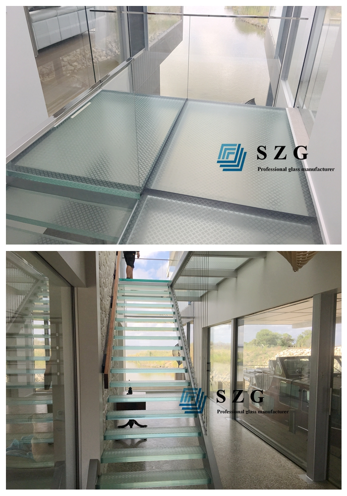 laminated glass stair treads, glass for bridge, stair cases, flooring glass, glass for floor, antiskid glass manufacturer, low iron ESG VSG, low iron FT anti slip glass