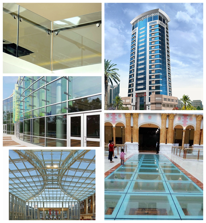 green laminated glass for building, curtain wall, facades, partitions