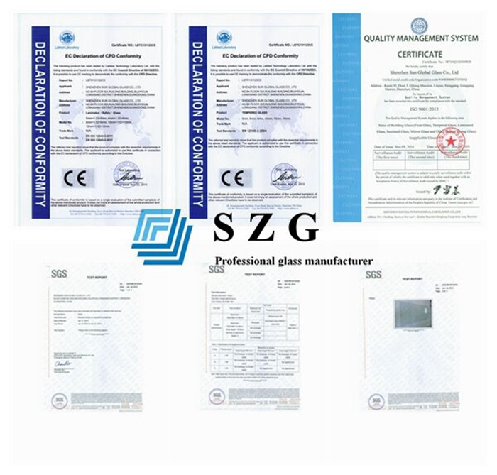 gradient tempered laminated glass certificates