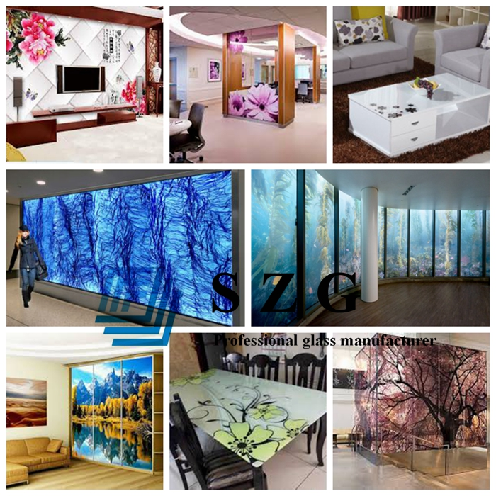 13.52mm toughened laminated glass, 13.52mm toughened glass, 6mm+6mm frit printing glass, 13.52mm printing sandwich glass, printing glass, silk screen printing laminated glass, hotel decorative glass
