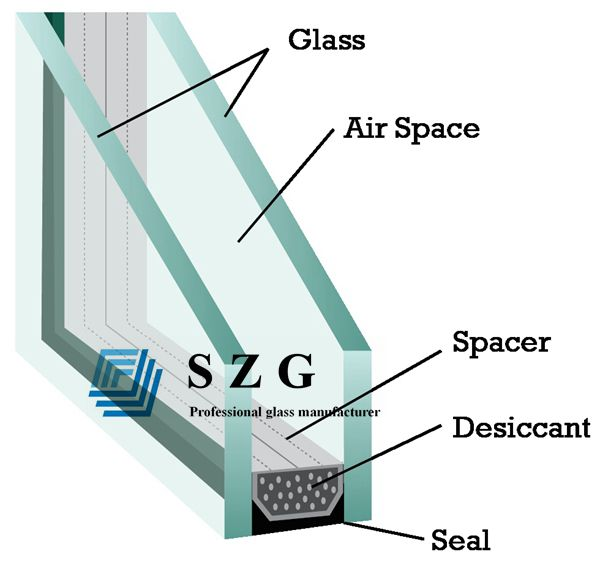 15mm spacer insulated glass, 6+6 clear insulated glass, 6mm+6mm double glazing, 6mm+6mm insulating glass, soundproof glass