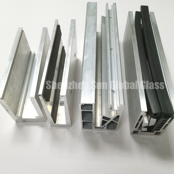Aluminium U channel for railing glass