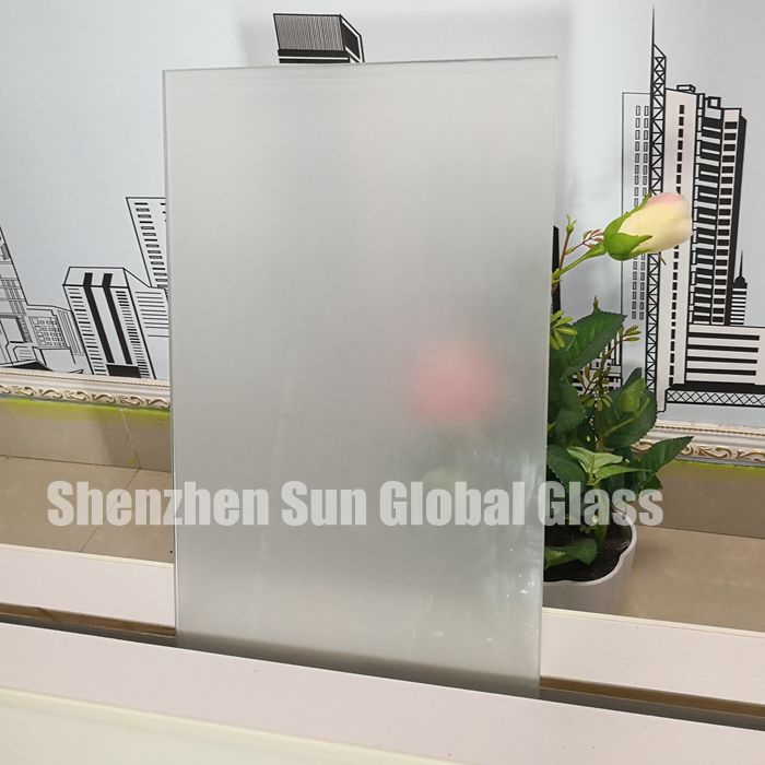 17.52mm frosted PVB laminated glass, 2/3 inch acid etched toughened laminated glass SGCC certified glass factory, 88.4 translucent ESG VSG glass CE certified glass manufacturer