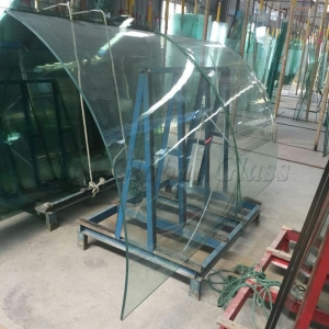 10.89MM clear tempered curved SGP laminated glass factory, 10.89mm curved Sentryglas glass, 10.89mm bent SGP tempered glass supplier