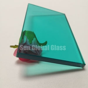 11.52mm thick Blue green tempered laminated glass,55.4 blue green laminated glass,5mm+5mm blue green esg vsg