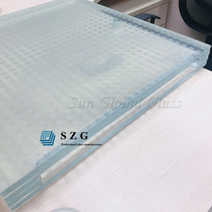 12+1.52 SGP+12+1.52 SGP+12+1.52 SGP+12 low iron antislip tempered laminated glass, 52.56mm ultra clear antiskid glass, 4 layers non slip laminated glass