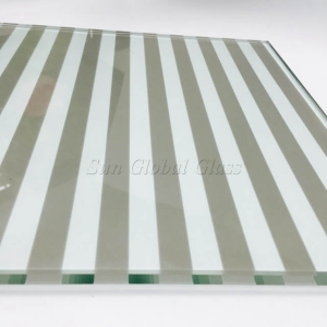 12mm line pattern silk screen printed glass, 12mm white color toughened printed glass, 1/2 inch customized design silk screen glass