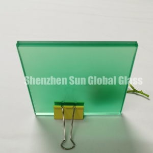 13.52mm color frosted PVB laminated glass, 1/2 inch green colored toughened laminated glass SGCC certified glass factory, 66.4 colour ESG VSG glass CE certified glass manufacturer