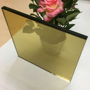 17.52mm gold reflective laminated glass, 8mm+8mm golden tempered laminated glass, 17.52mm gold coated sandwich glass