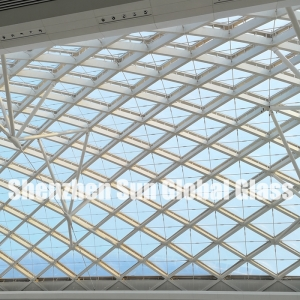 21.52mm low iron tempered laminated glass skylight, 10mm+10mm ultra clear toughened sandwich glass for canopy, 1010.4 ESG VSG extra clear glass roof
