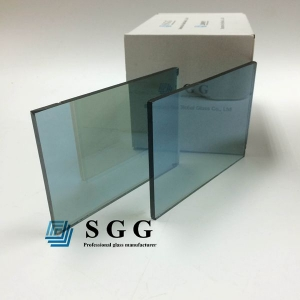 5.5mm ford blue reflective glass one way, 5.5mm light blue coated reflective glass one side, 5.5mm reflective glass ford blue color coating