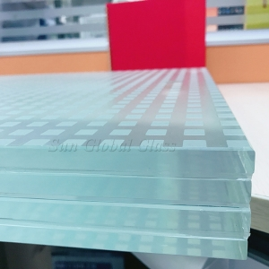 52.56mm anti-slip low iron SGP laminated glass, 12.12.12.12.4 ultra clear tempered laminated non slip glass for floor