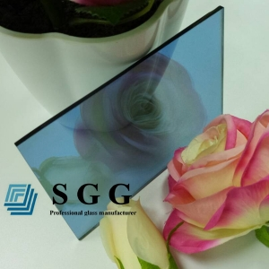 5mm light blue reflective glass, 5mm light blue coated glass factory, 5mm blue reflective float glass panel