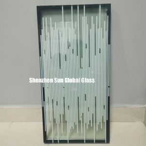 5mm stripe printed glass+9A+11.52mm laminated tempered insulated glass,25.52mm white stripe toughened laminated insulated glass,printed insulated glass for partition wall