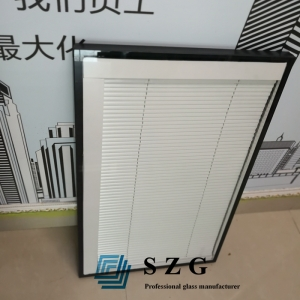 6mm+19a+6mm insulated blinds glass, 6mm+6mm louver insulated glass, shutter hollow glass for window